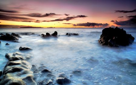 Фото закат, море, misty water