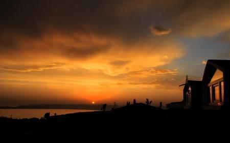Заставки Закат, небо, солнце, облака