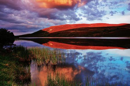 Обои небо, облака, вечер, гора