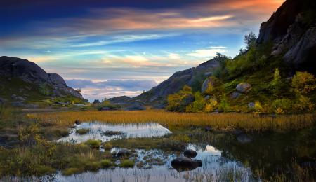 Фото вечер, горы, озеро, скалы