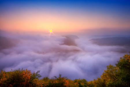 Заставки река, саар, утро, туман