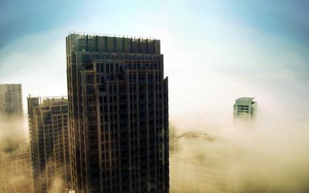Фото Mist VS, небоскрёбы, туман, небо