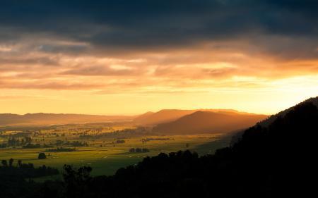 Обои пейзаж, природа, зелень, закат