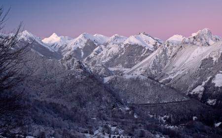 Картинки горы, зима, закат, снег