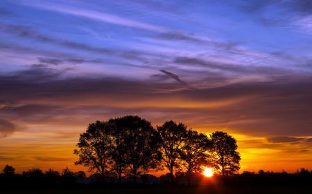 Обои закат, небо, тучи, цвет