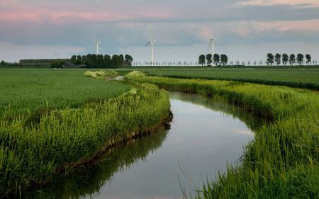 Обои поле, река, ветряки, пейзаж