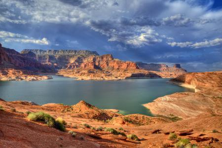 Фотографии Юта, долина, скалы, озеро