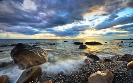Обои море, небо, камни, пейзаж