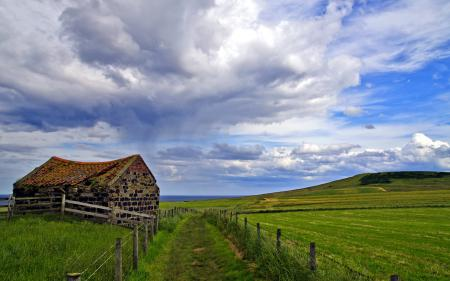 Фотографии поле, дом, дорога, забор