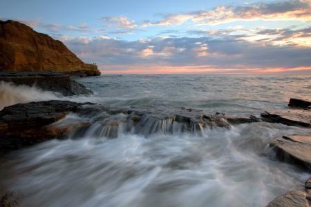 Картинки море, скалы, небо, закат