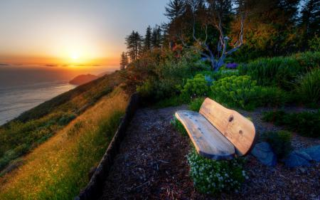 Картинки закат, море, скамья, пейзаж