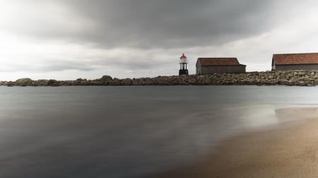 Заставки маяк, море, дома, пейзаж