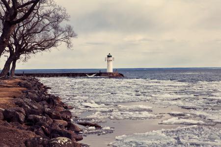 Заставки зима, дерево, лед, маяк