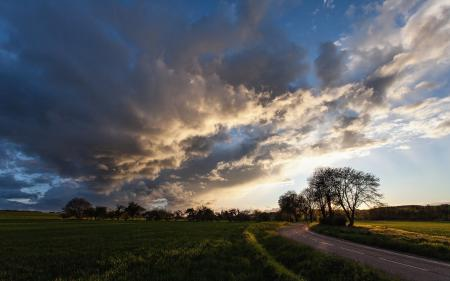 Картинки дорога, поле, закат, пейзаж
