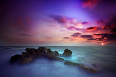 Фото океан, рассвет, камни, пляж
