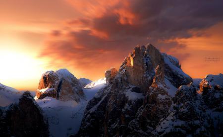 Фотографии горы, снег, зима, закат