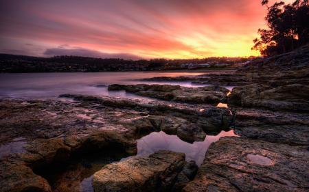 Фото закат, природа, озеро, камни