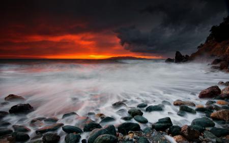 Картинки закат, море, берег, пейзаж