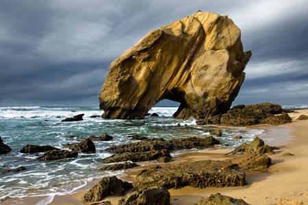 Фотографии скала, камни, пляж, песок