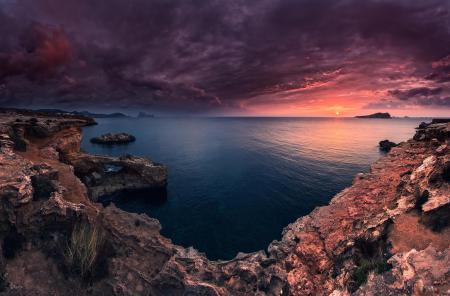 Картинки рассвет, Ibiza, море, природа