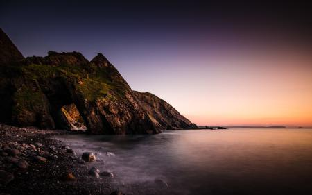Обои море, скалы, пейзаж, закат