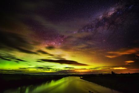Заставки Новая Зеландия, река, ночь, звезды