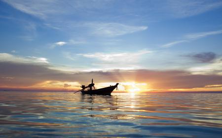 Картинки море, небо, вода, лодка