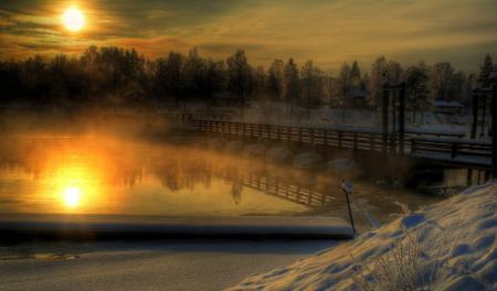Обои Dalecarlia, Sweden, Österdal River, зима