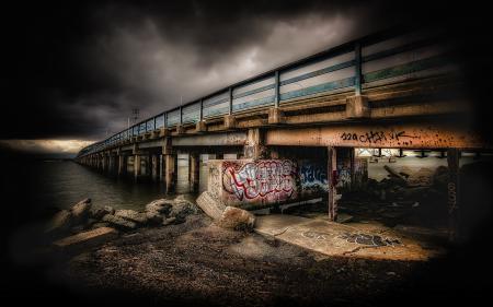 Заставки мост, река, ночь, пейзаж