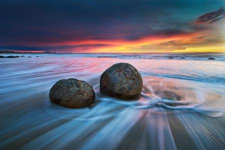 Картинки рассвет, море, камни, пляж