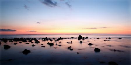 Заставки море, закат, пляж, вода