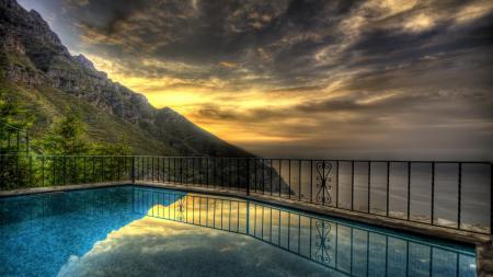 Фотографии бассейн, горы, закат, побережье