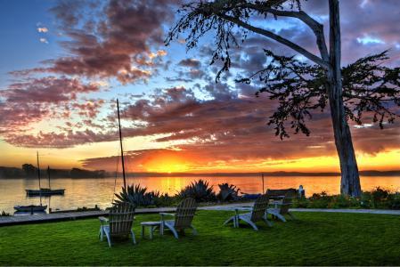 Фото пейзажи, закат, яхты, трава