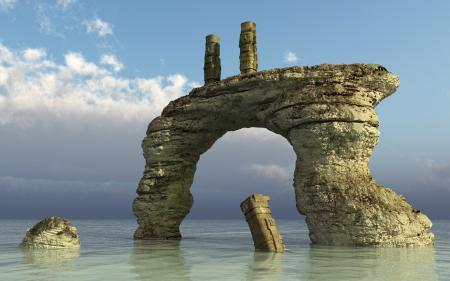 Заставки скала, арка, статуи, море