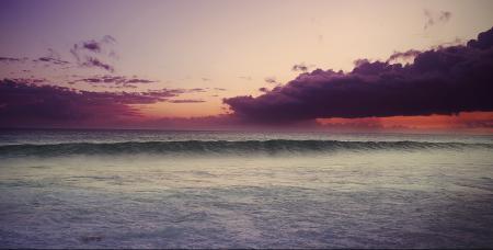 Фото тучи, закат, океан, волна