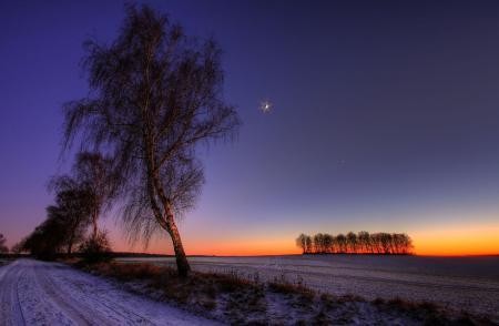 Заставки пейзажи, закат, зима, ночь