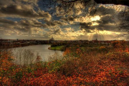 Обои город, осень, небо
