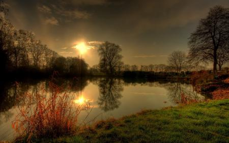 Картинки закат, озеро, природа, деревья