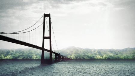 Обои Мост, тропический, остров, океан