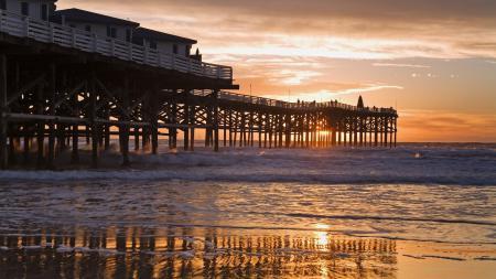 Обои пирс, берег, океан, california