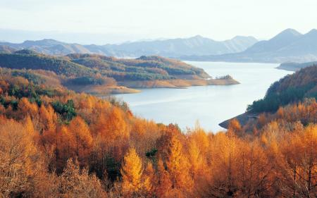 Заставки Chungjuho lake, Korea, лес, озеро