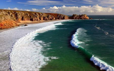 Обои облака, океан, волны, берег