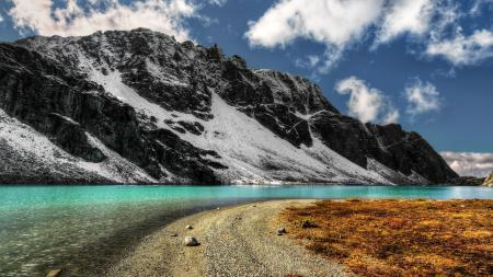 Обои красотище, речка, горы, снег