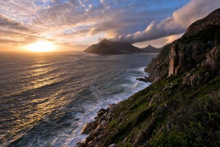 Картинки море, скалы, пейзаж, закат