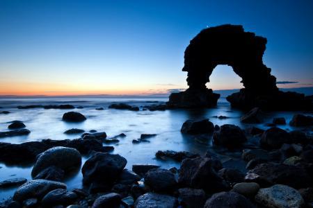 Фото ночь, море, скалы, пейзаж
