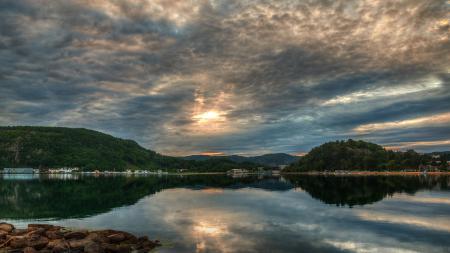 Заставки Norway, Норвегия, озеро, городок