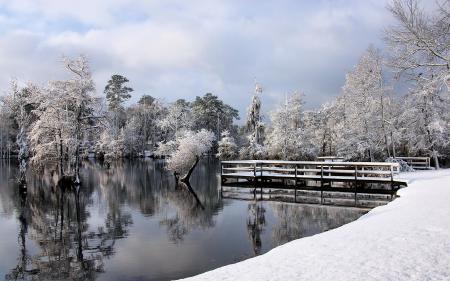Картинки зима, озеро, мост, пейзаж