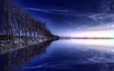 Заставки утро, озеро, деревья, пейзаж