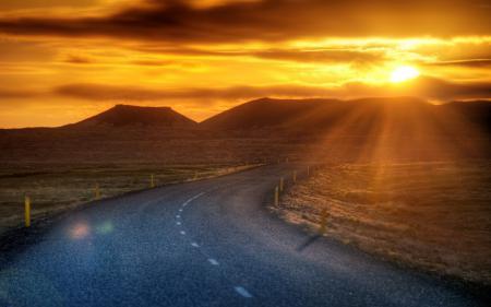 Заставки закат, дорога, пейзаж
