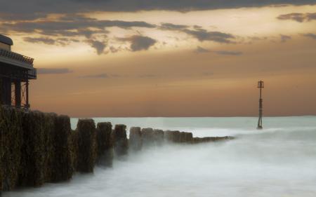 Заставки море, ночь, пристань, пейзаж